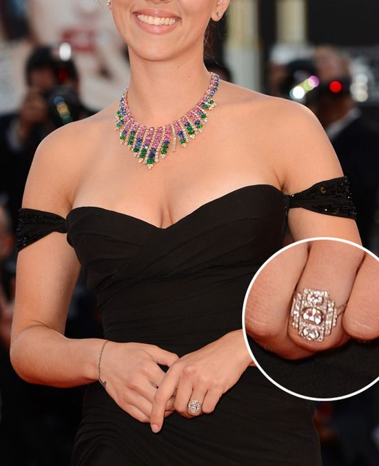 Close Up Scarlett Johansson Engagement Ring, art deco engagement ring