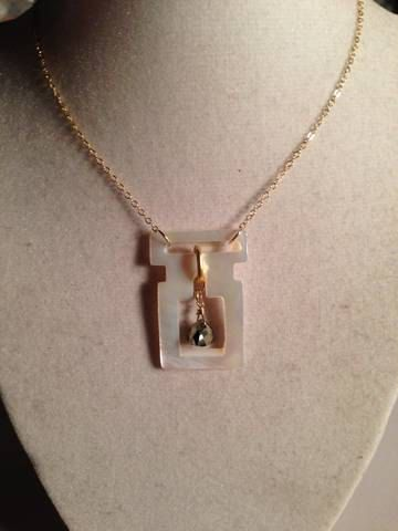 Vintage Buckle Necklace Pyrite Jewelry Mother of Pearl by cdjali, $42.00