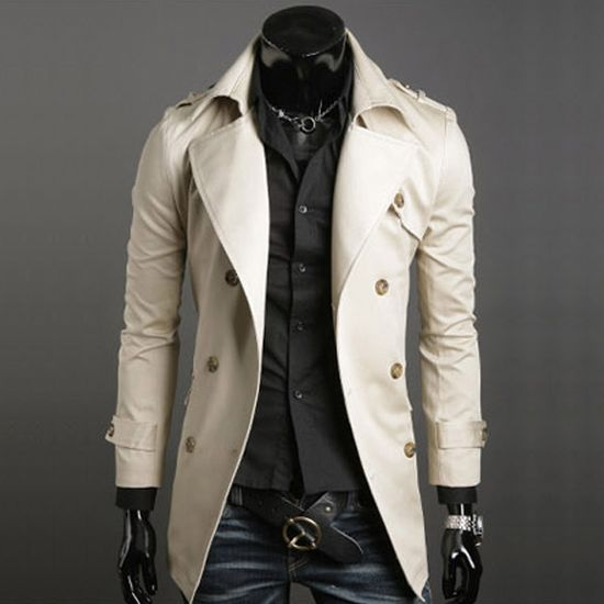 Men's Fashion Elegant Cotton Double Breasted Formal Long Trench Coat