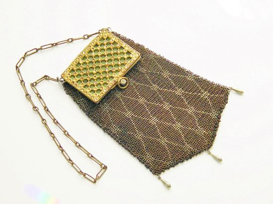 Vintage French Art Deco Chain Mail Purse France 20s via Etsy