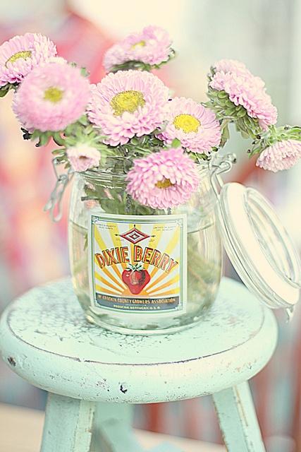 Flowers in jar on stool