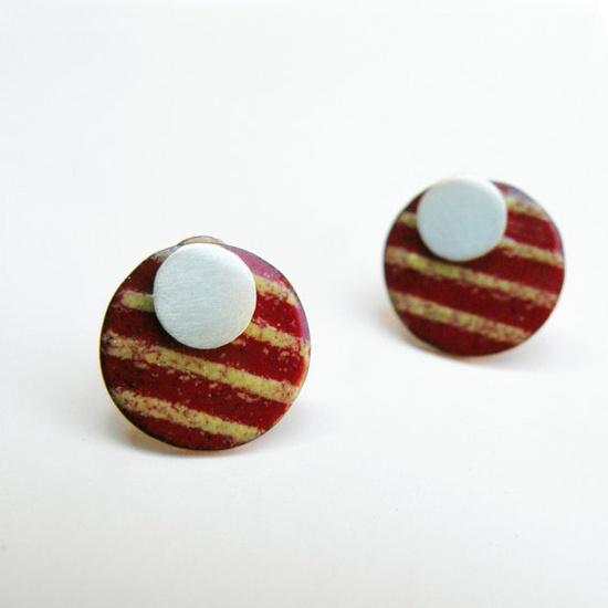2 in 1 Striped Sun Earringssterling silver and copper by mujoyas, $30.00