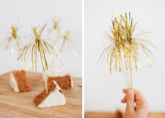 """Sparklers"" to use as dessert toppers on New Year's Eve."