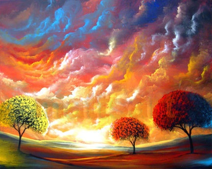 SOLD & relisted twice today.   13 x 19 lollipop tree landscape print  Mattsart by mattsart, $40.00