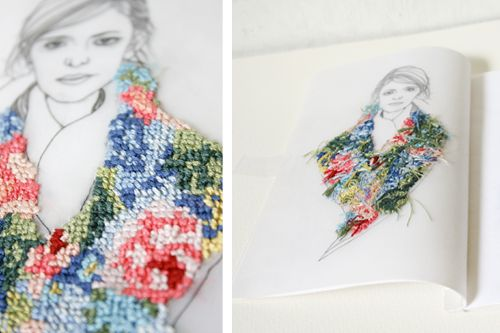 How cool embroidery in a drawing