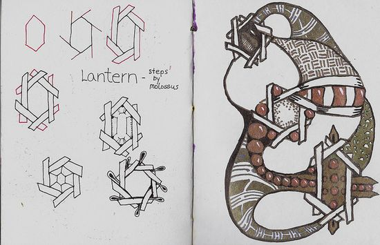 Lantern-Tangle Pattern by molossus, who says Life Imitates Doodles, via Flickr
