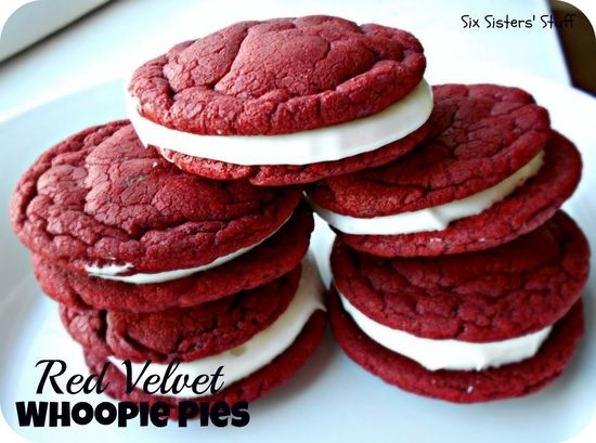 Red Velvet Sandwich Cookies (Whoopie Pies) with cream cheese frosting . . . SixSistersStuff.com