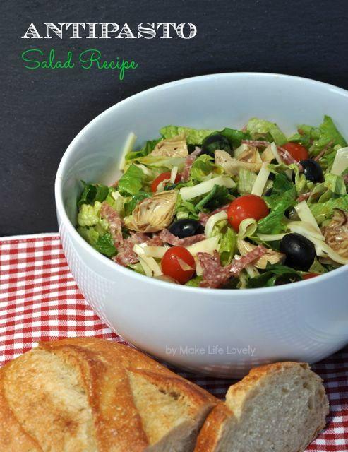 Italian Antipasto Salad Recipe via Make Life Lovely >> #WorldMarket Fall Cooking #Recipes #GourmetGetaway #Italian