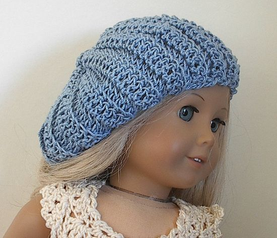 American Girl Doll Clothes Crocheted  Beret Delft Blue for 18 Inch American Girl Doll.via Etsy.