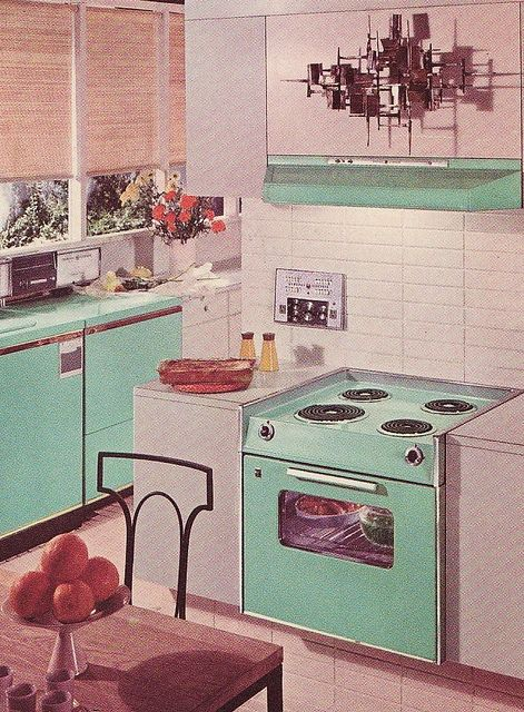 A cheerfully aqua hued GE kitchen from 1963. #vintage #home #decor #1960s #aqua