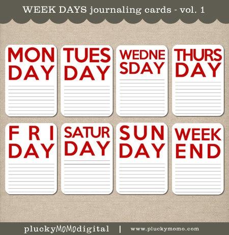 Week Days Journaling Cards