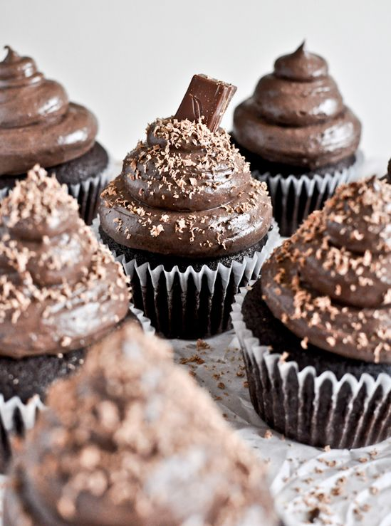 dark chocolate cupcakes with chocolate cream cheese frosting
