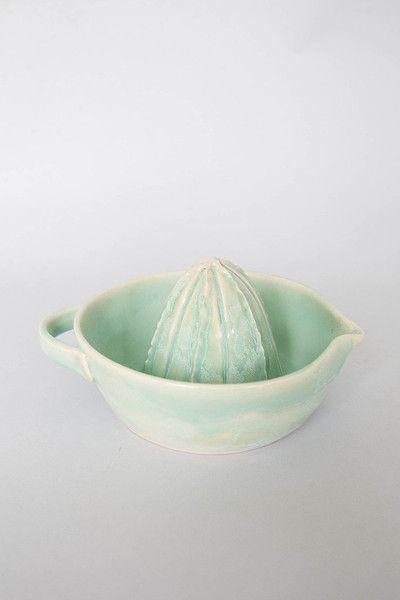Handmade pottery lemon juicer