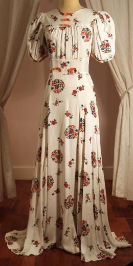 1930s Vintage Cream Floral Bias Cut Long Dress Orange Bows