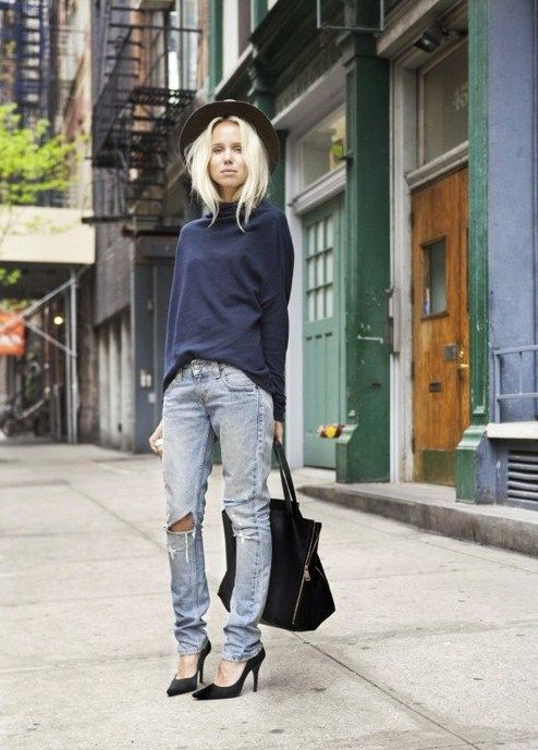 Elin Kling. Hat from Rag & Bone, sweater from Hunky Dory, jeans from Levis, shoes from H and bag from Celine.  Photo: Nevil Dwek   http://stylebykling.nowmanifest.com/2011/05/02/20110502/  #Casual