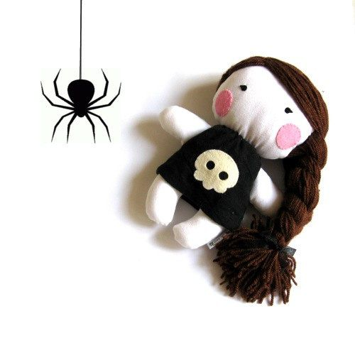 Halloween rag doll witch toy skull bones boo spider dark gothic horror baby girl kid kids stuffed puppet handmade plushie white black. $42.00, via Etsy.