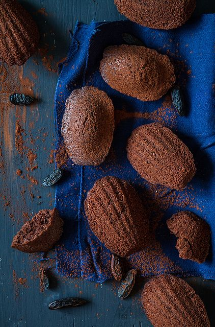 ? Still Life Food Styling food photography chocolate with dark blue Cocoa and tonka bean madeleines