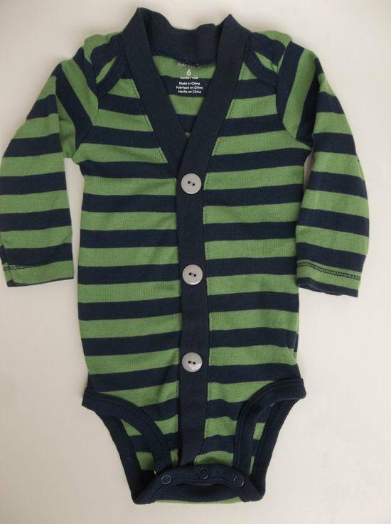 Baby Boy Cardigan  Green and Navy Stripe for a Preppy Baby Boy