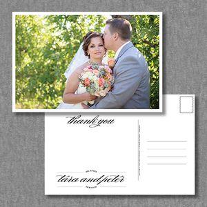 Vintage, classic wedding photo thank you postcard