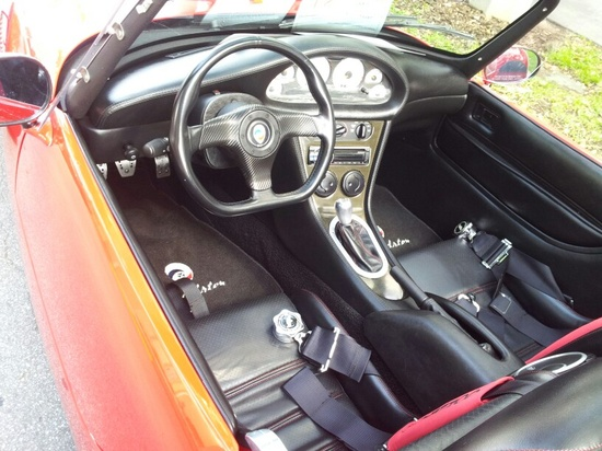 Interior of the red sports car.