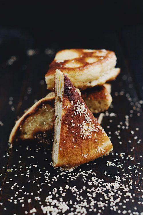 Sesame pancake sandwich bread.