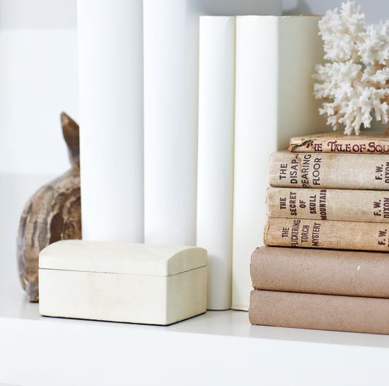 covered books + coral