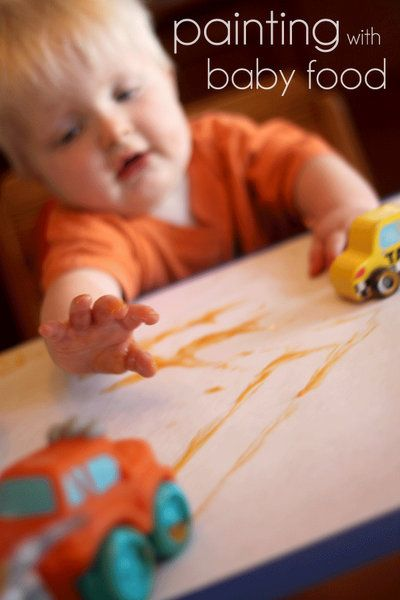 Finger painting with baby food!