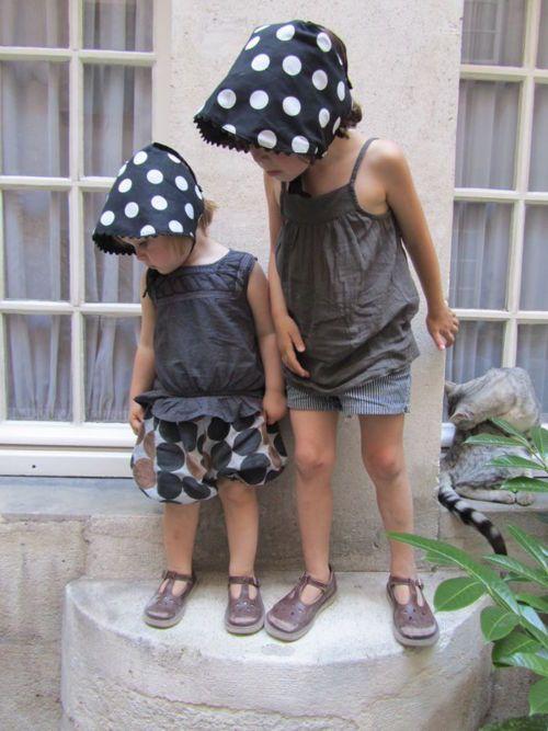 Polka dot hat & shorts.