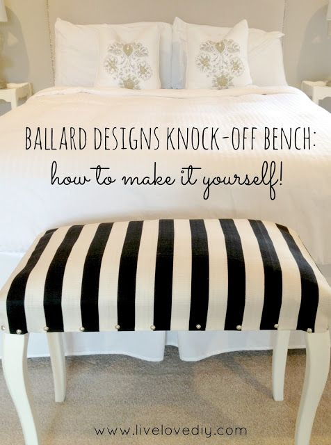 DIY Ballard Designs Knock-off Bench: how to make it yourself!