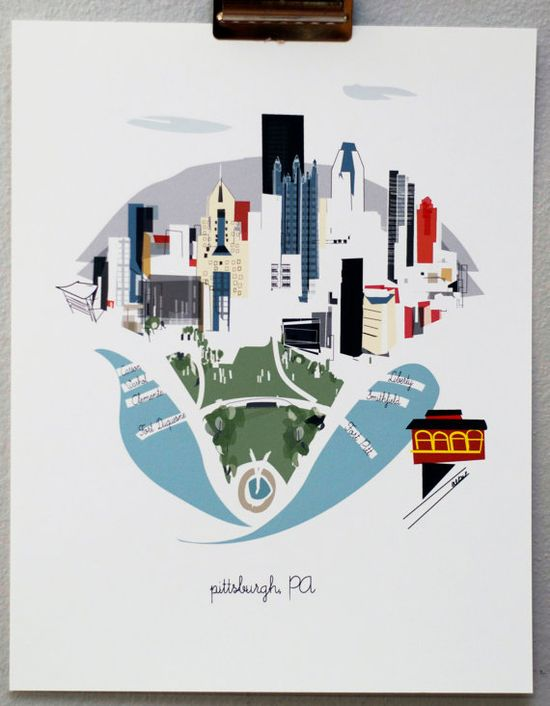 Pittsburgh by albiedesigns on Etsy, $30.00