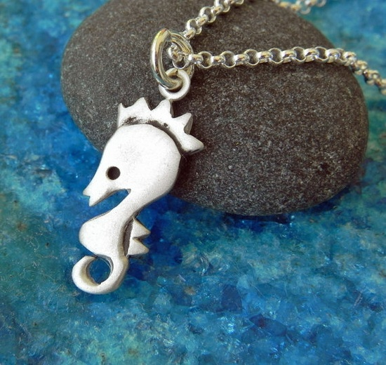 Sea horse sterling silver necklace by Fingerprince on Etsy, $33.00