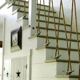 Cool Idea! Nautical home decor rope and cleat stairway. www.blackburninve...  #floridabeachproperties