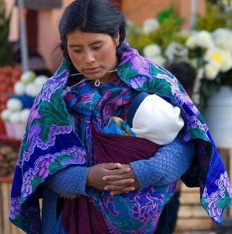 Madre e hijo mayas, Mexico