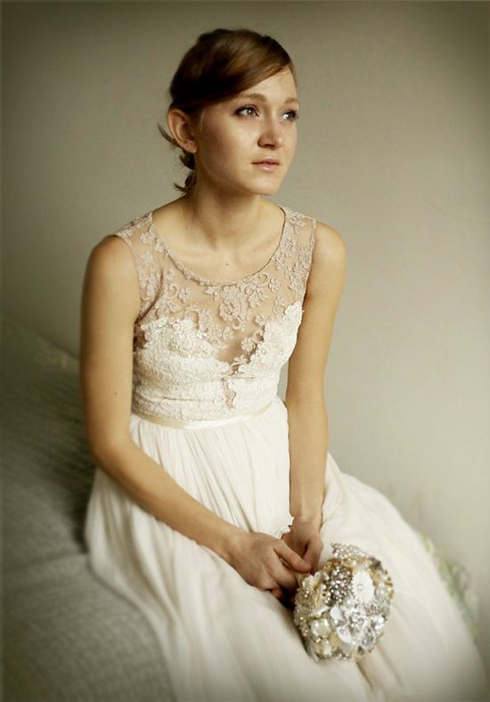 This is basically the top I had in my head!!    Josephine lace and silk chiffon gown  etsy exclusive by Leanimal, $1,495.00