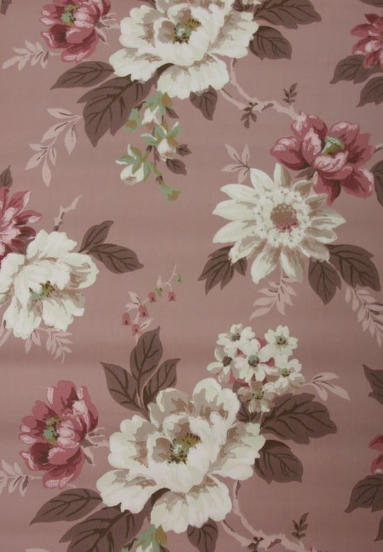 1940's Vintage Wallpaper Beautiful Mauve White and Brown floral
