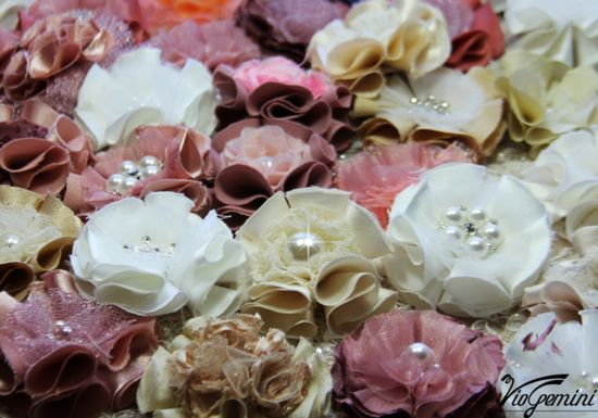 Wedding handmade fabric flowers