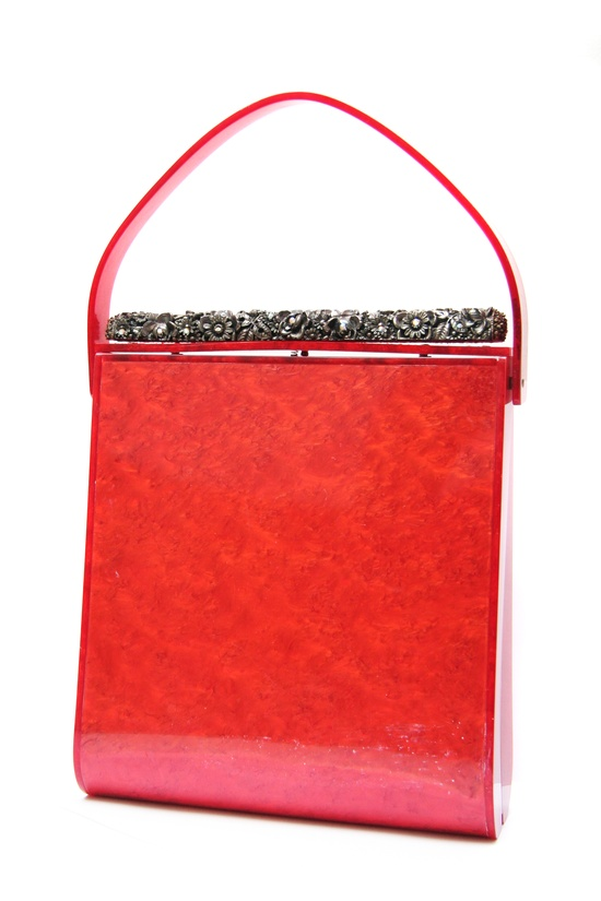 The most important 50's Lucite purse in my collection. 6 inches high and red!