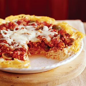 spaghetti pie....  Using lean ground beef and low-fat cottage cheese lowers the fat and calories in this favorite beef and pasta casserole.