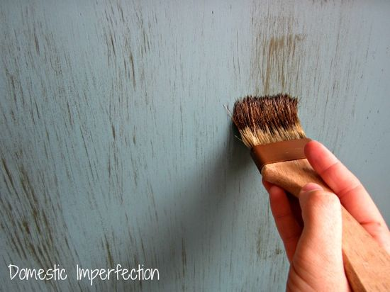 distressing furniture with stain.