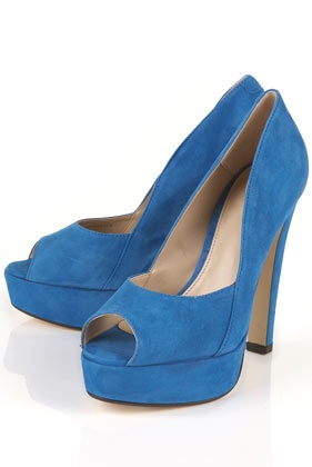 scarlette blue suede platform peep toe shoes. LOVE this color