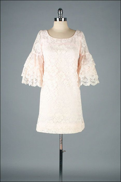 Vintage 1960s Dress  Pale Pink Lace  Wedding  by millstreetvintage