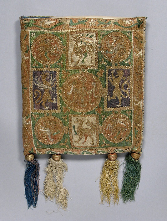 Pouch (Forel), Date: 14th century Culture: French Medium: Silk and metal thread on canvas. Dimensions: Overall: 8 3/4 x 8in. (22.2 x 20.3cm) Accession Number: 46.156.34a–e The Metropolitan Museum of Art