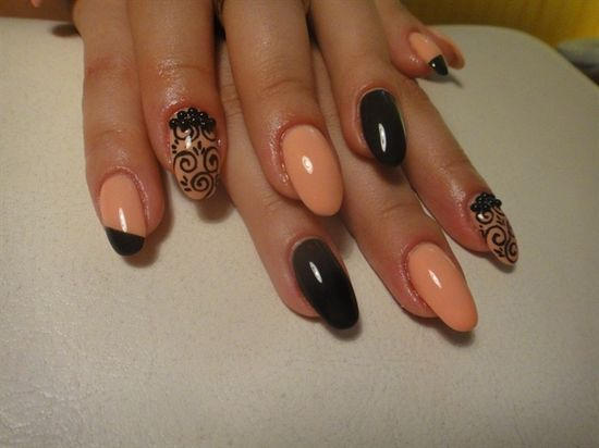 Black and peach nails nails nail black peach pretty nails nail art nail ideas nail designs