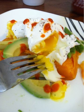 Sweet potato, poached egg and avocado clean eating breakfast