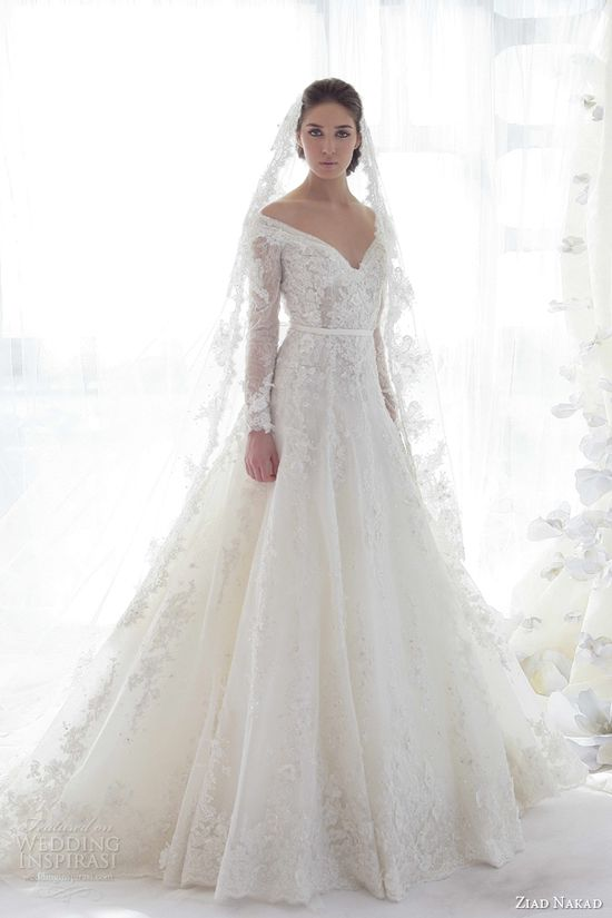 Dress  2: It's made by Ziad Nakad it's a 2013 Long Sleeves Wedding Dress. It's a bit traditional but it has lace flower designs sewn into the dress. It would fit a enchanted forest or midsummer night dream theme.