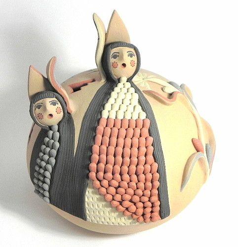 Native American Handmade Pottery Joseph Gachupin CORNMAIDEN Jemez Pueblo