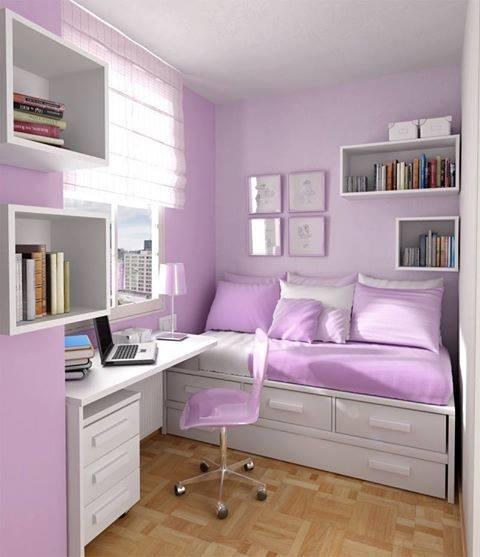 Violet & white room design.