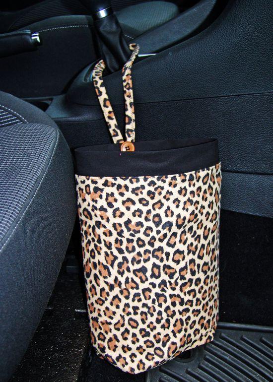 Car Trash Bag Leopard print car accessories by GreenGoose