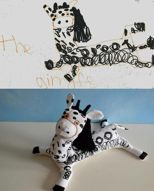 FREAKING ADORABLE kids' art turned into stuffed animals