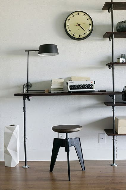 pipe shelves and desk